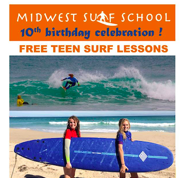 Midwest Surf School 10 Birthday Celebration! FREE Teenager School Holiday Surf Lessons